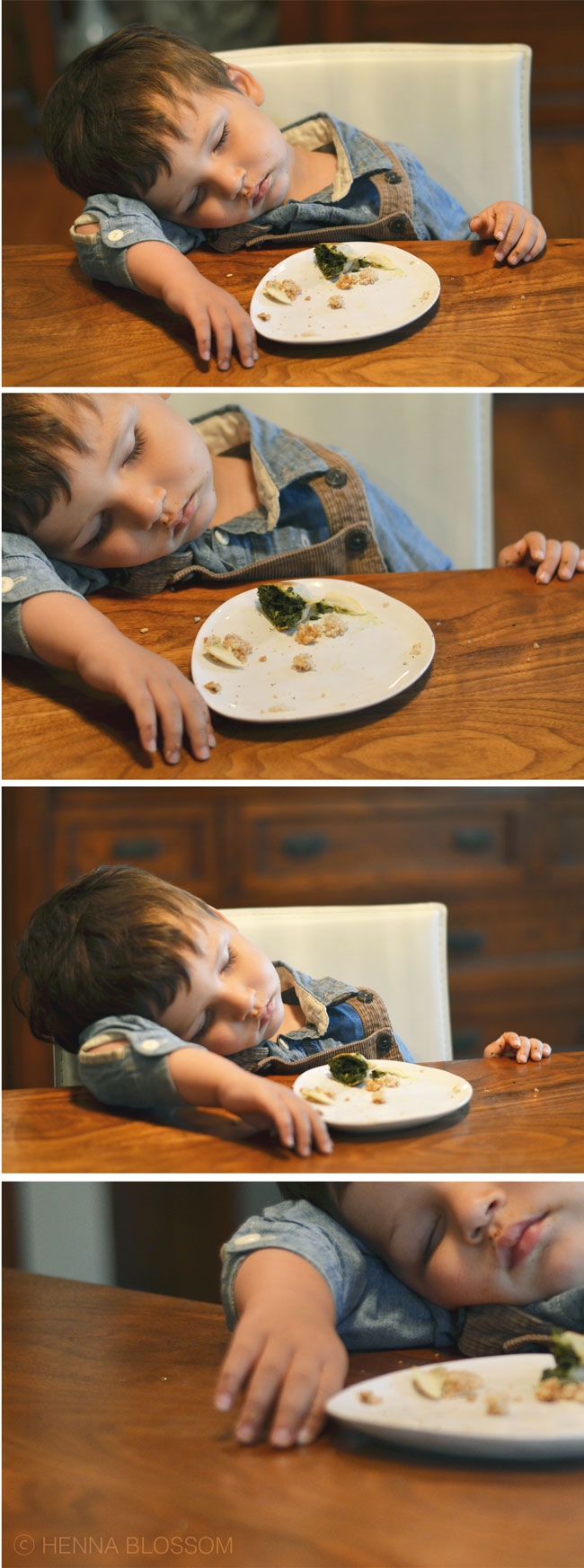 toddler jet lag: toddler asleep at the table